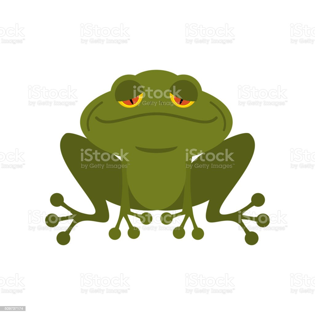 Frog. Green melancholy Toad. Cute freshwater with sad eyes. vector art illustration
