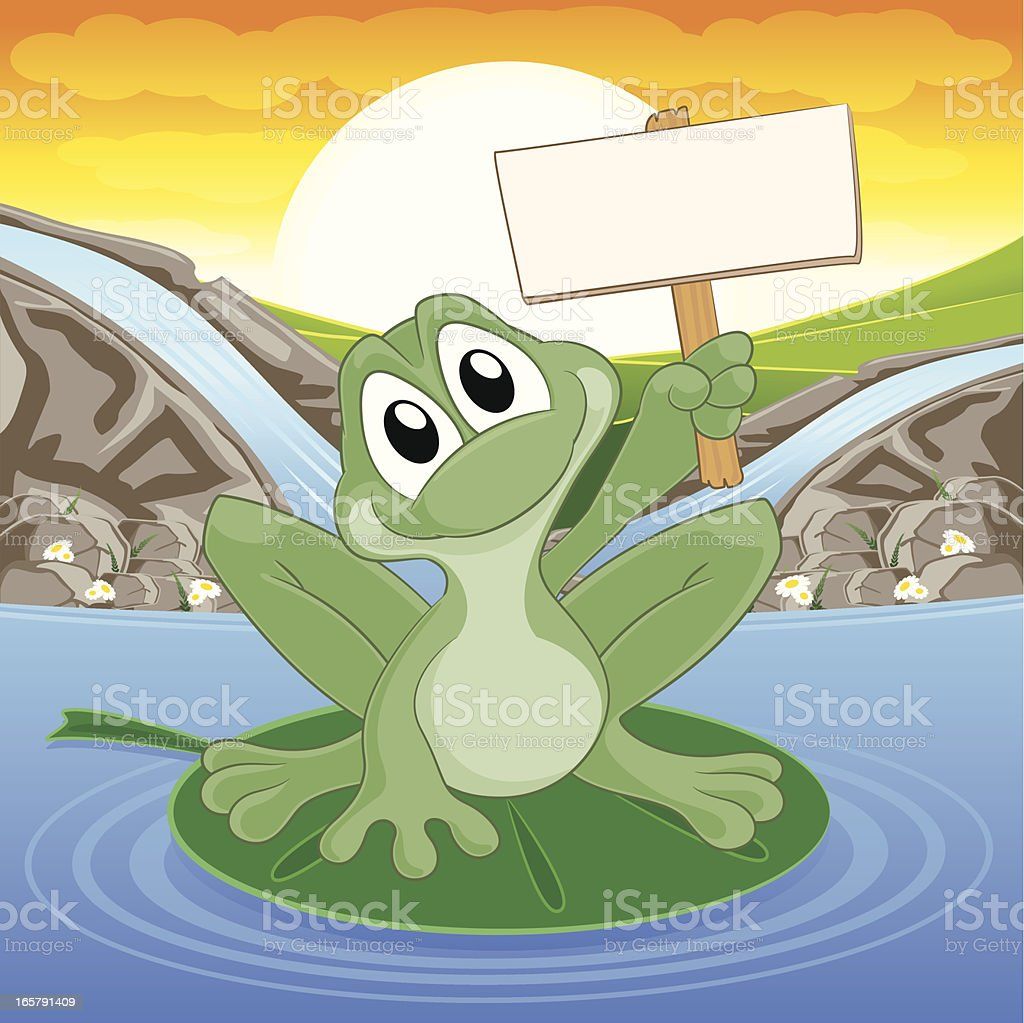 Frog holding a blank sign royalty-free stock vector art