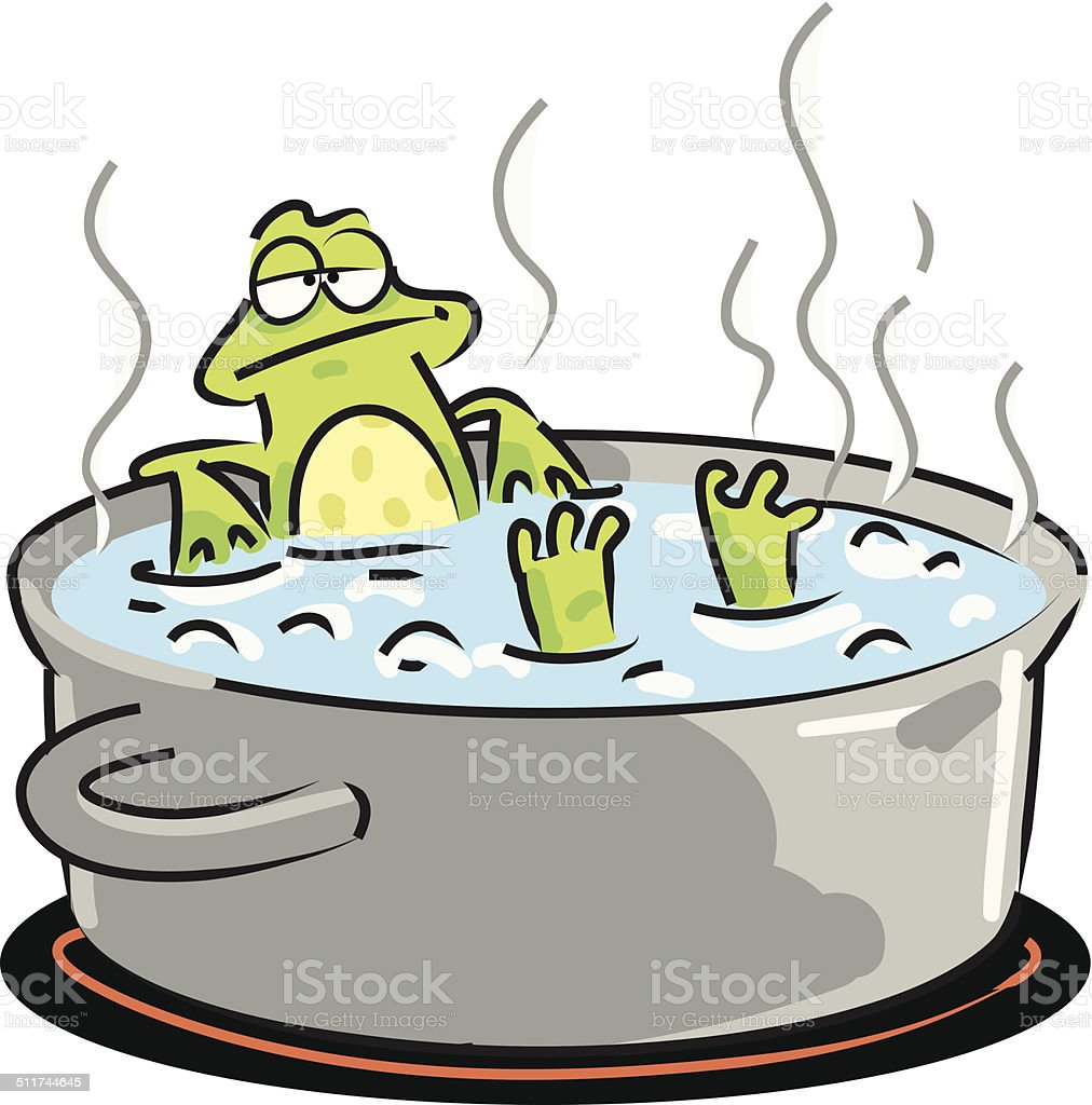Frog In Boiling Water vector art illustration