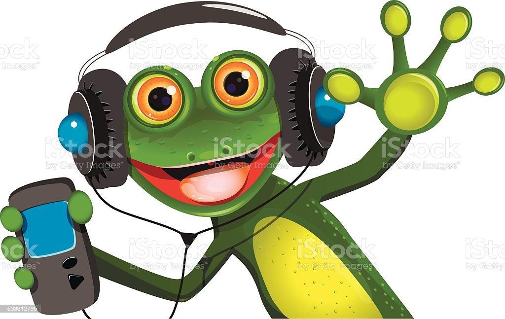 Frog In Headphones vector art illustration