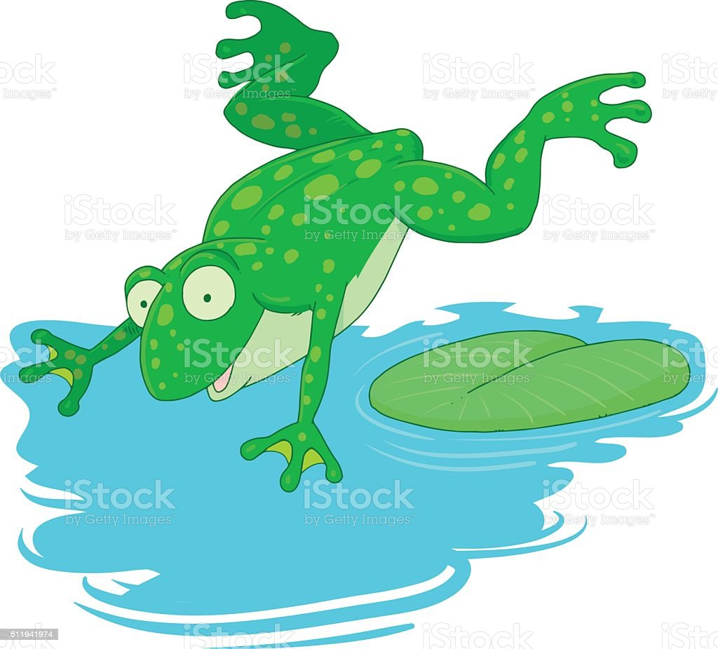 frog jumps into the water vector art illustration
