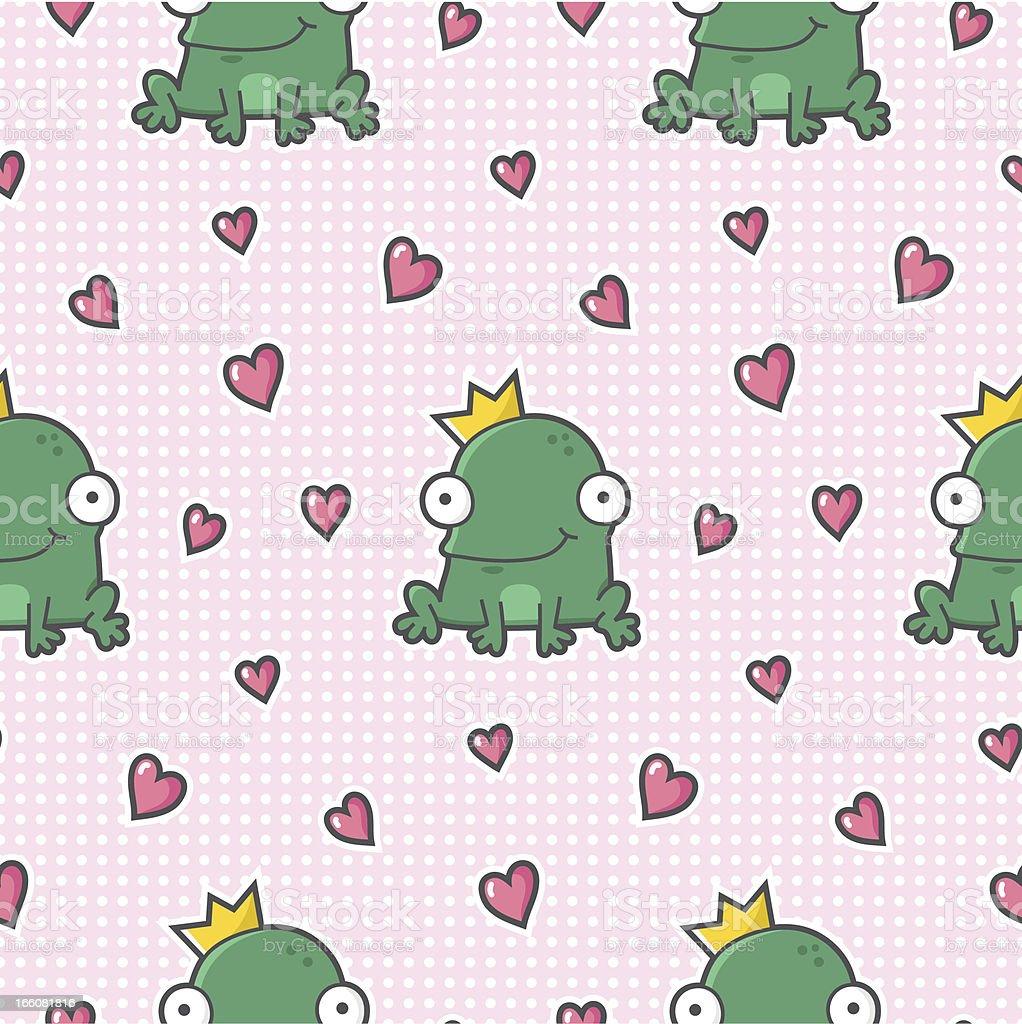 Frog King seamless pattern - love / cartoon royalty-free stock vector art