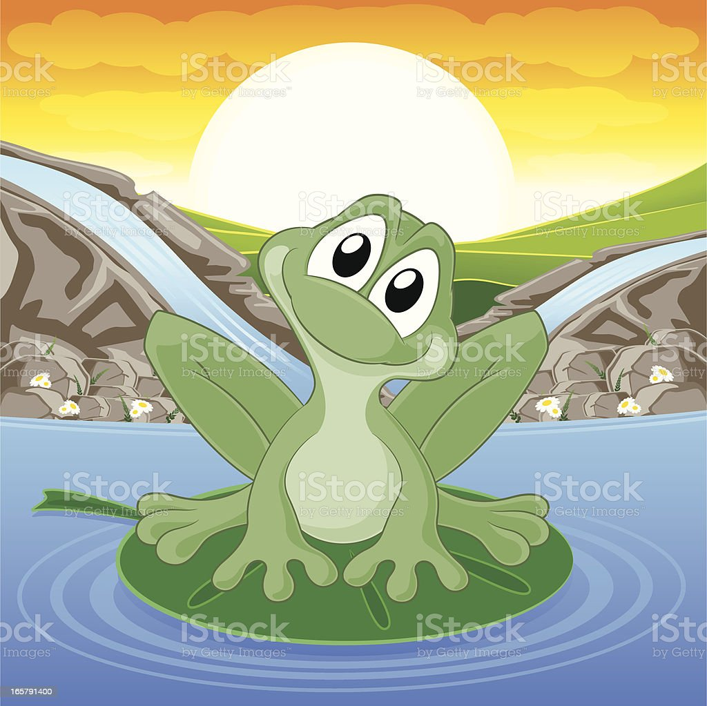 Frog on a pond. royalty-free stock vector art