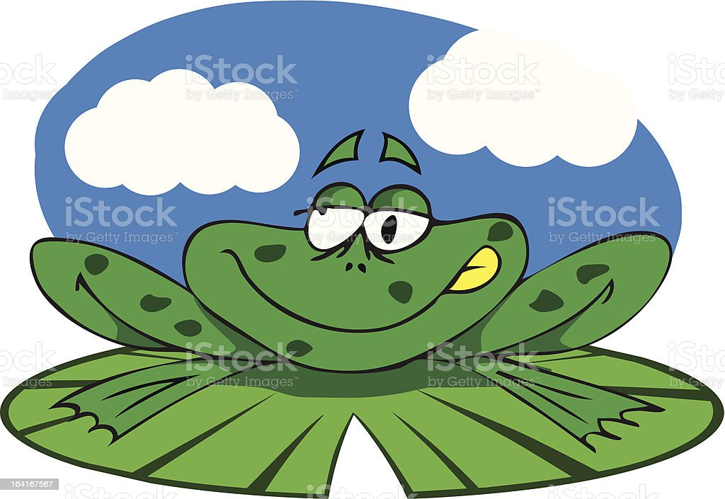 Frog on his lily pad royalty-free stock vector art