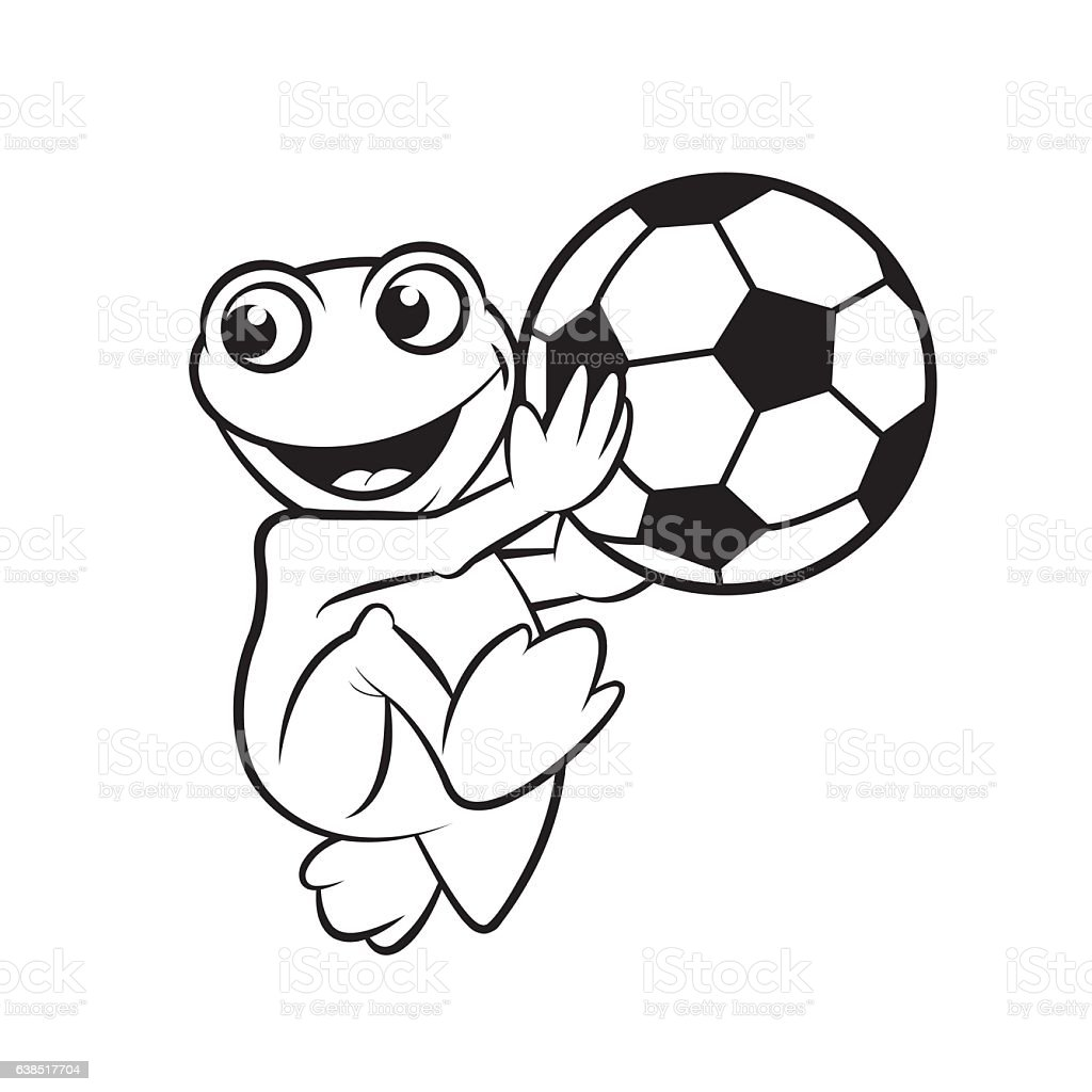 frog playing with ball vector art illustration