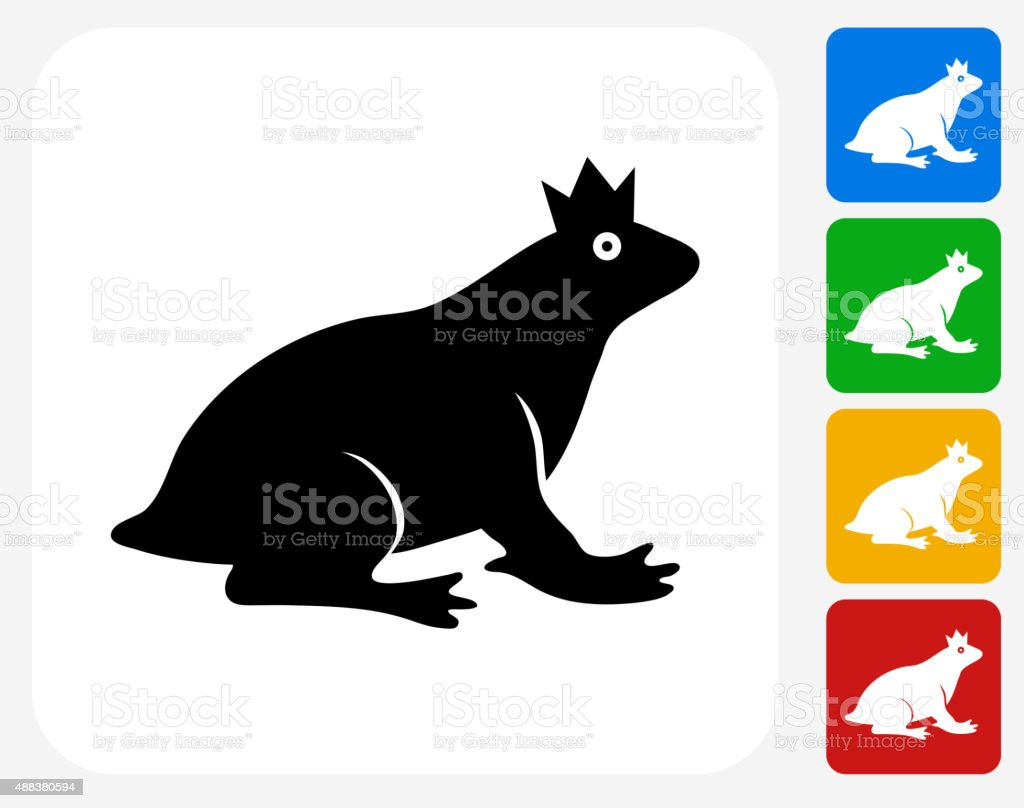 Frog Prince Icon Flat Graphic Design vector art illustration