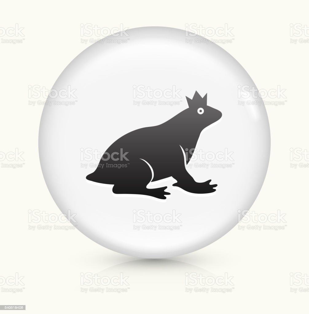 Frog Prince icon on white round vector button vector art illustration