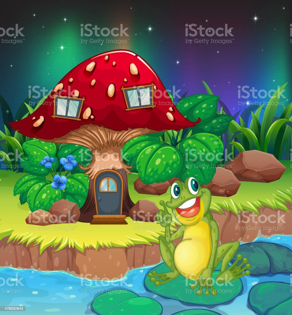 Frog sitting on a waterlily near the mushroom house royalty-free stock vector art