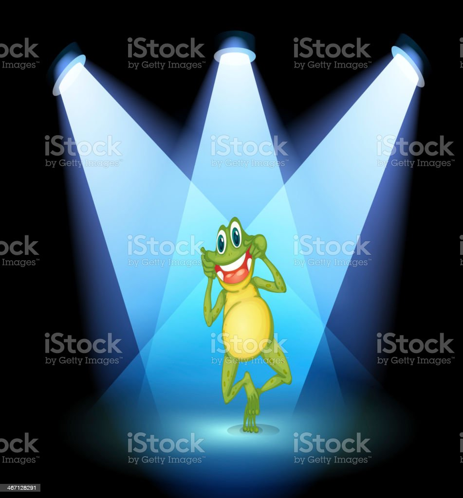Frog smiling in the middle of stage royalty-free stock vector art