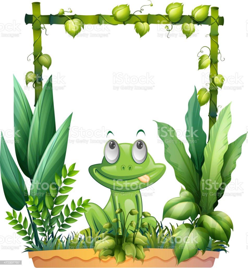 Frog thinking vector art illustration