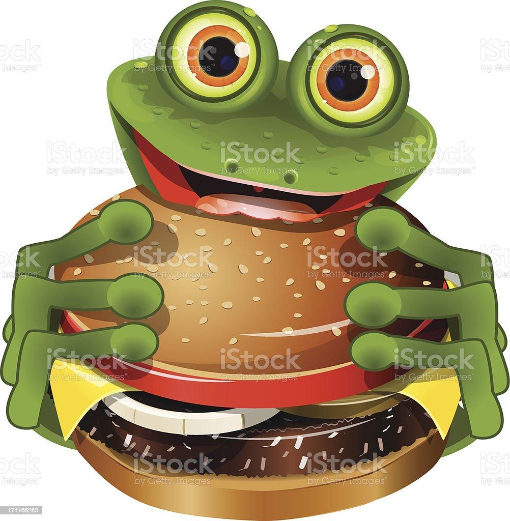frog with cheeseburger royalty-free stock vector art