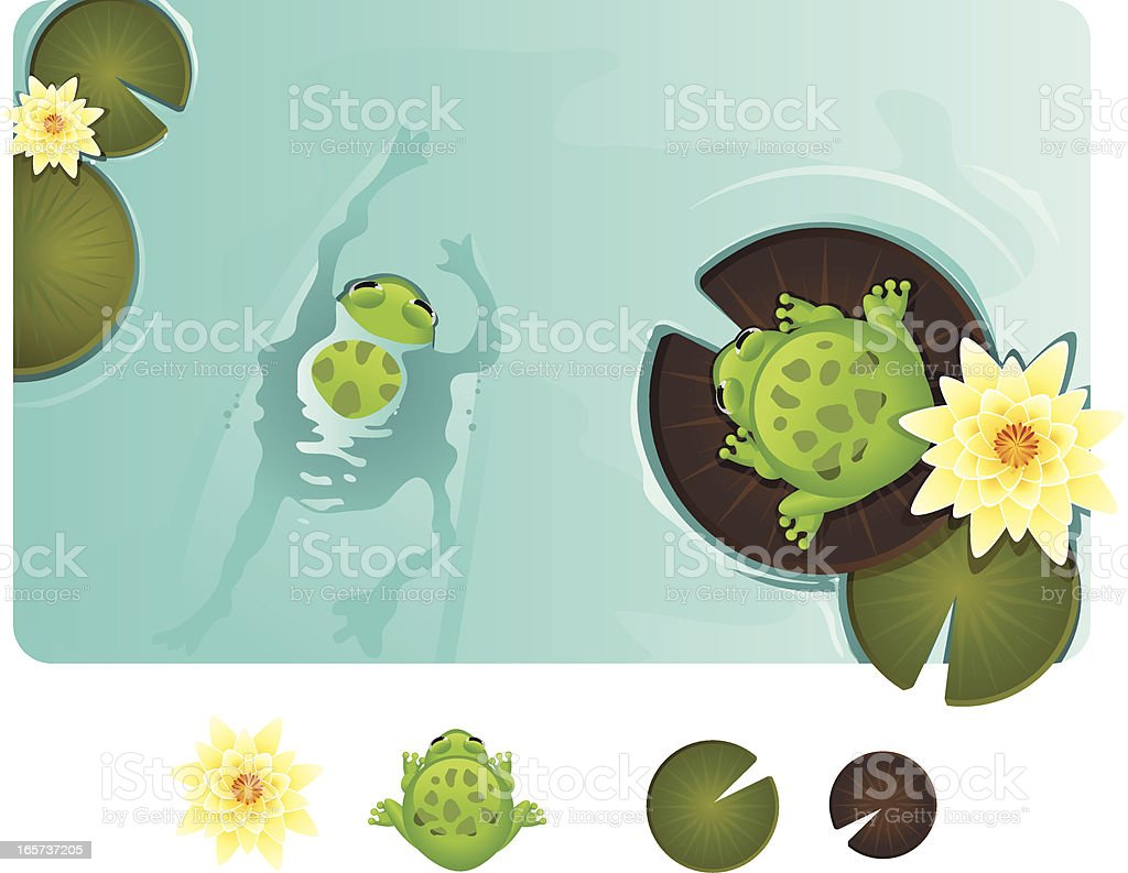 Frogs in a Pond royalty-free stock vector art