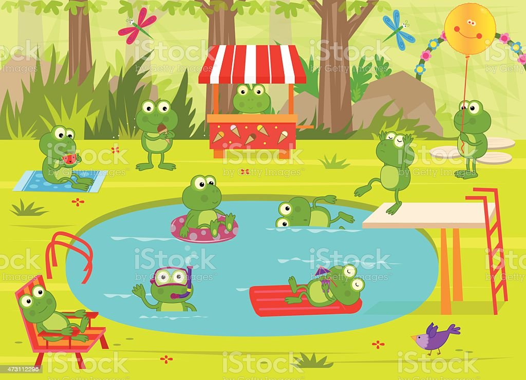 Frogs Pool Party vector art illustration