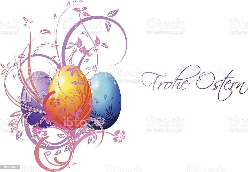 Frohe Ostern mit Ostereiern vector art illustration