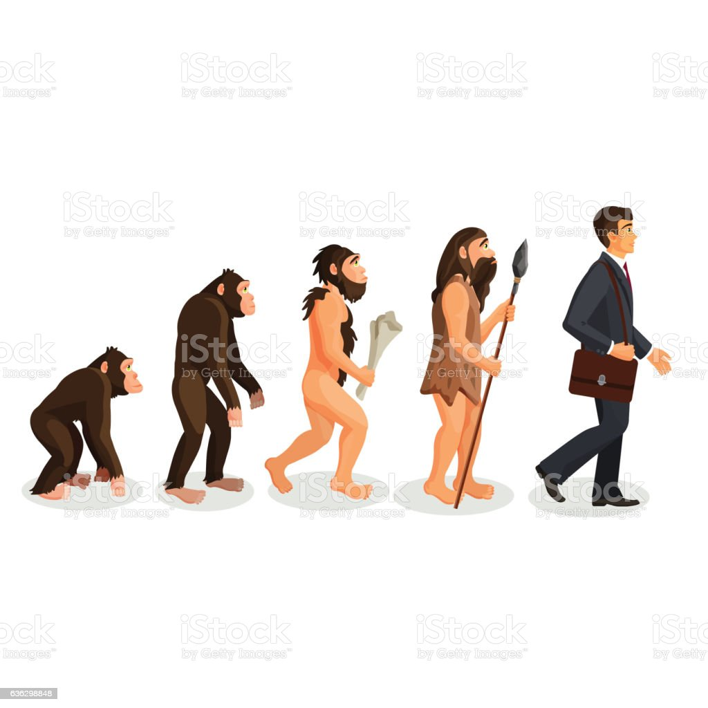 From ape to man standing process isolated. Human evolution vector art illustration