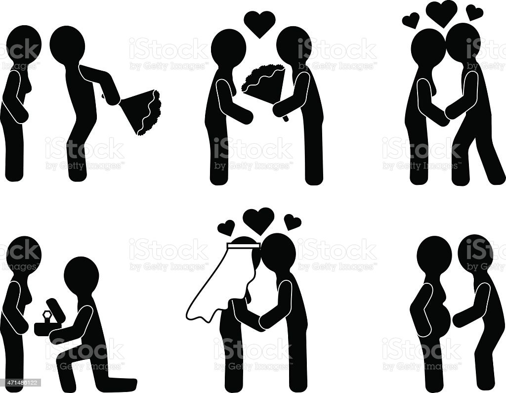 From dating to family. Love story vector art illustration