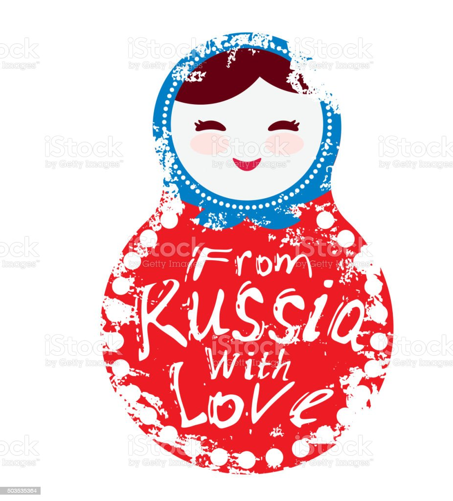 from Russia with love - doll matryoshka white red blue vector art illustration