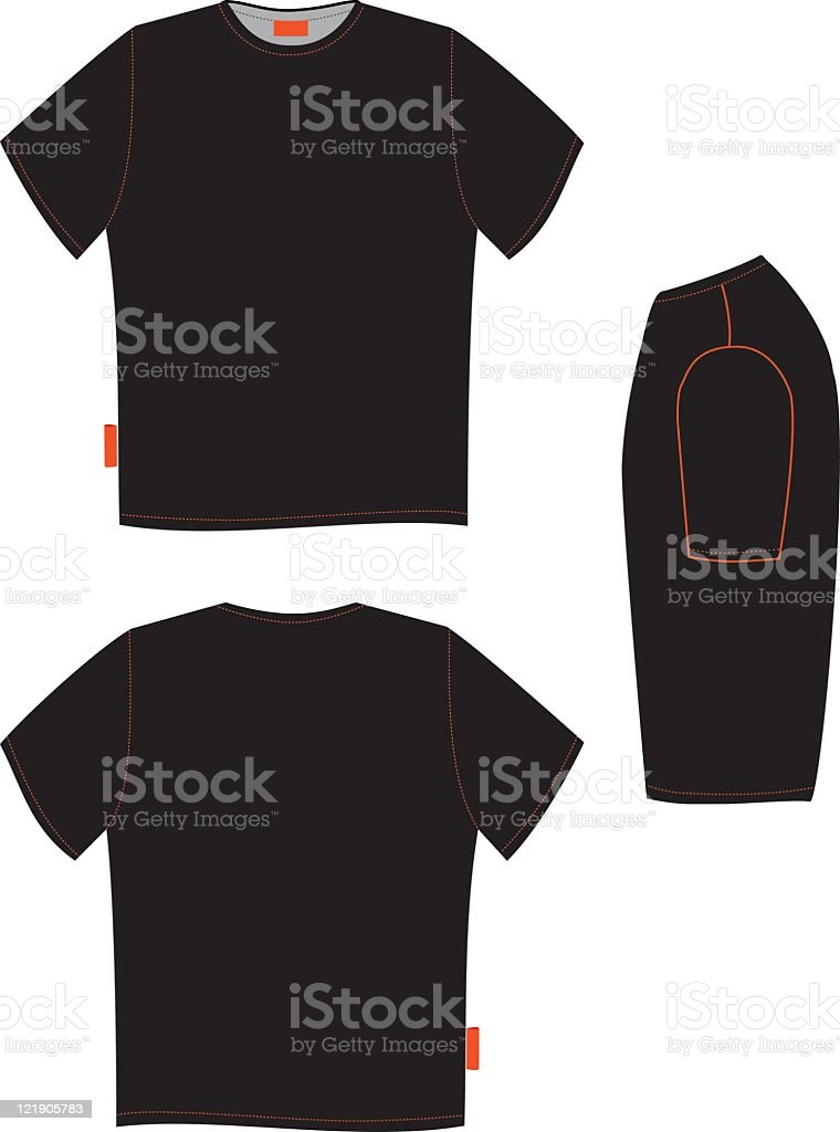 Front and back of a black t-shirt and black object beside vector art illustration