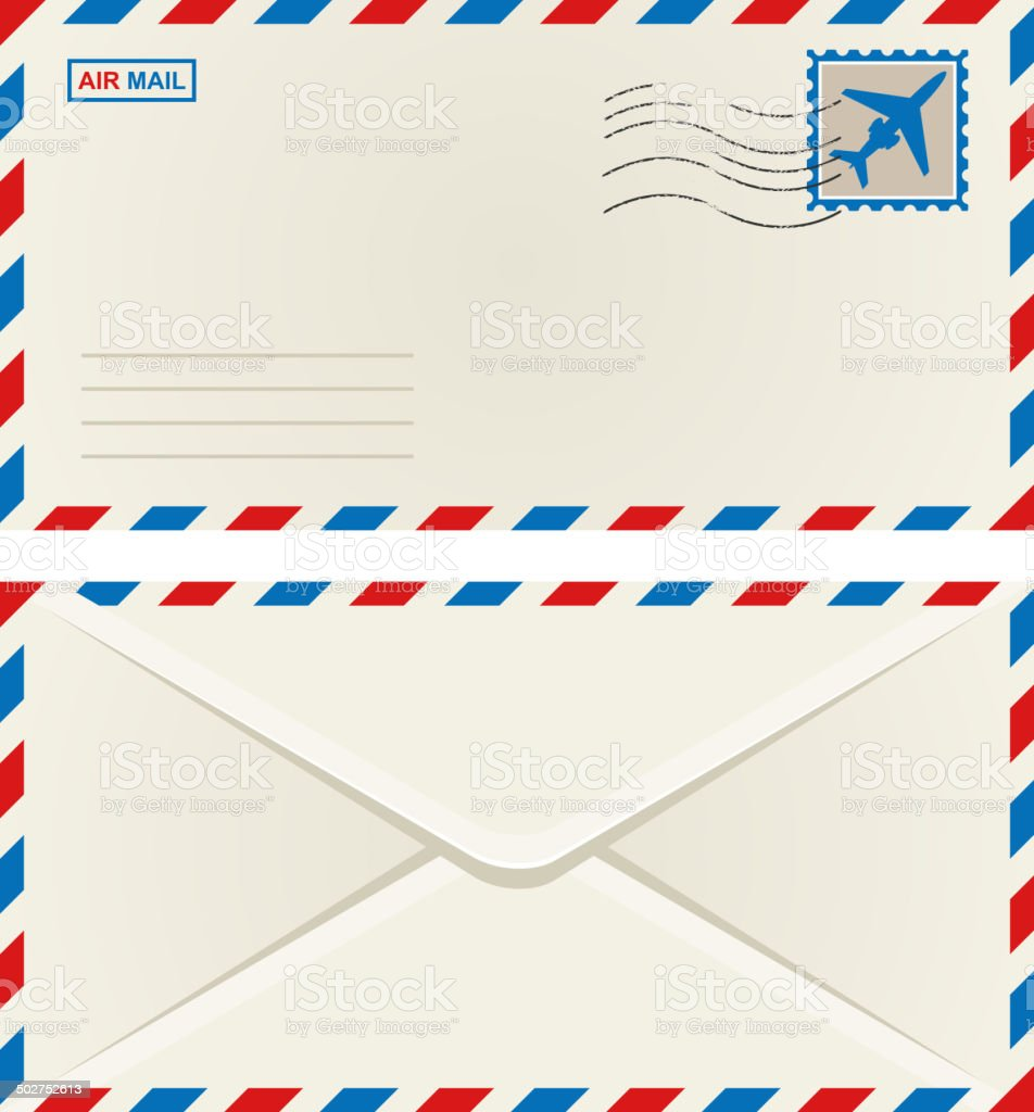 Front and back of an airmail envelope vector art illustration
