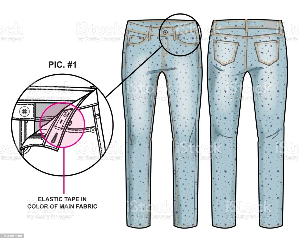 Front and back sides of pants vector art illustration