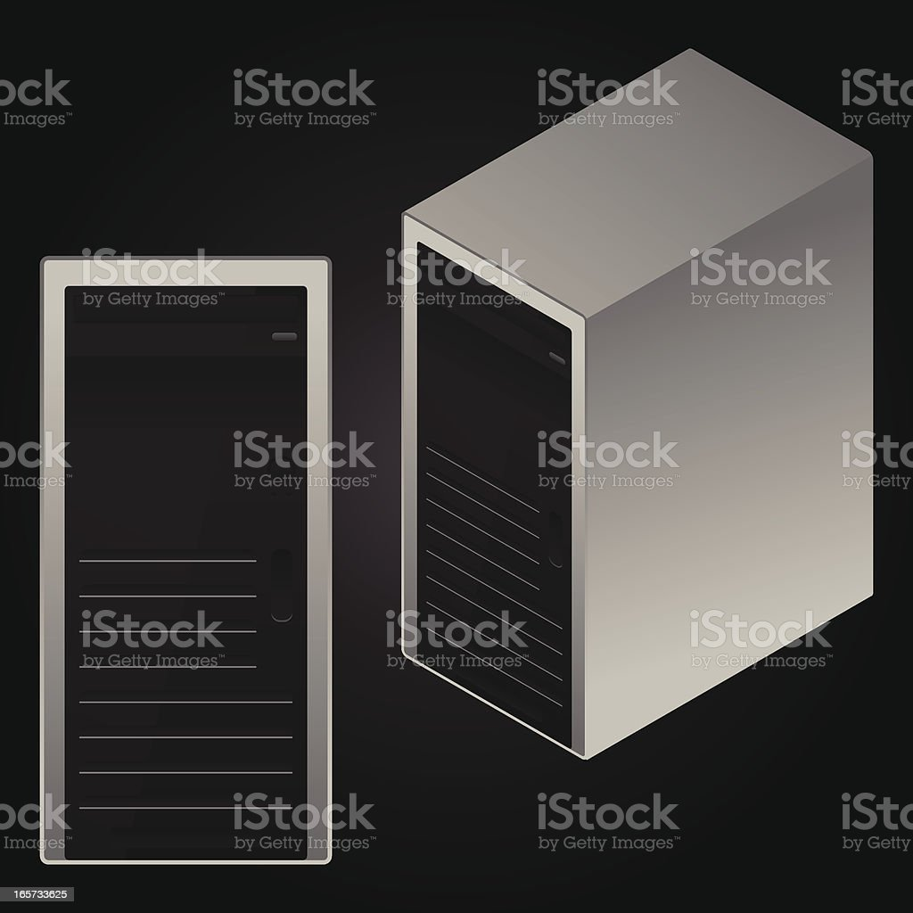 front and isometric server or pc case royalty-free stock vector art