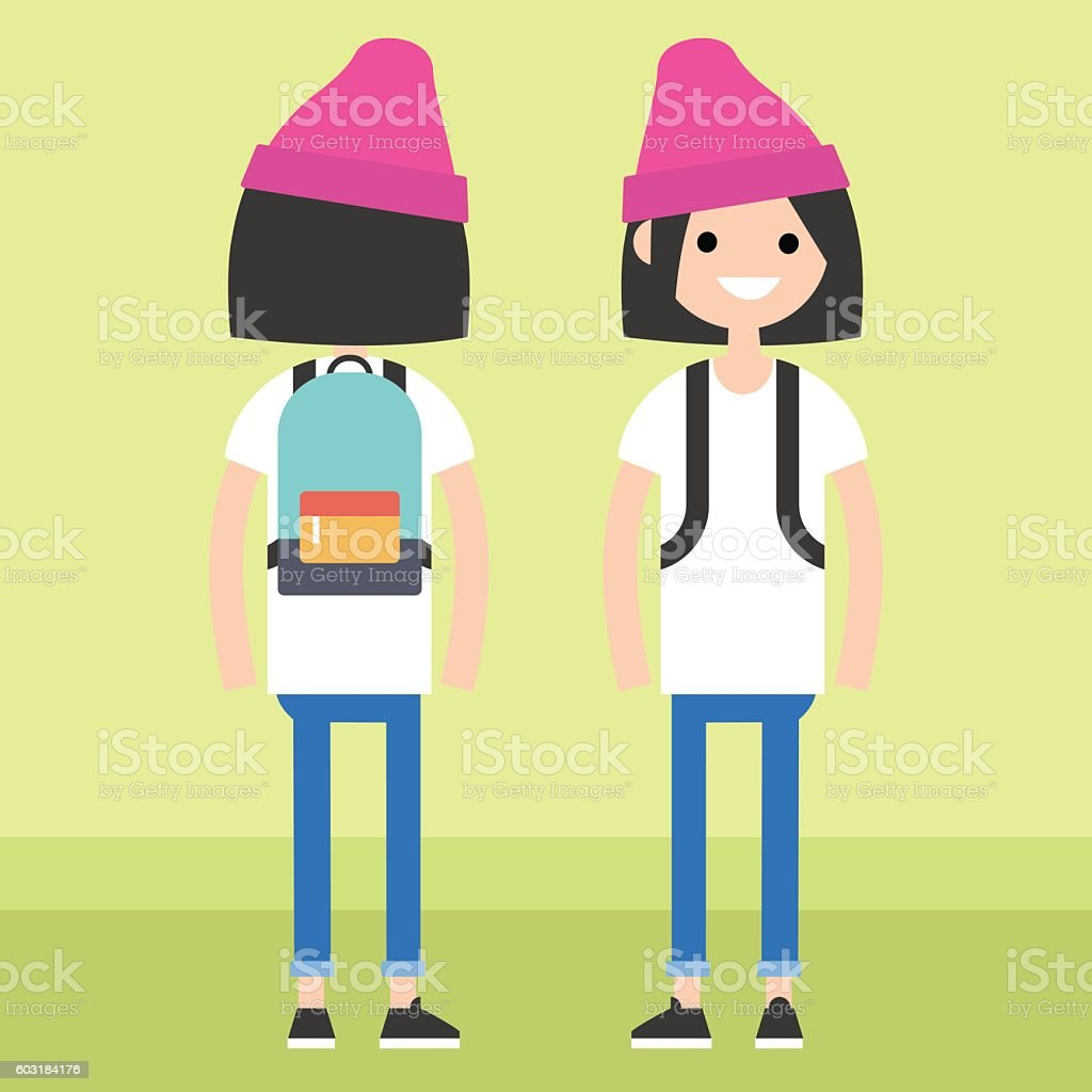 Front and rear view of a trendy teenage girl vector art illustration