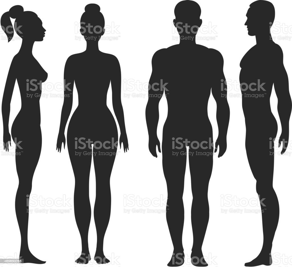 Front and side view silhouettes of man, woman vector art illustration