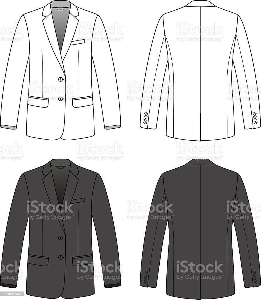 Front, back and side views of blank blazer. vector art illustration
