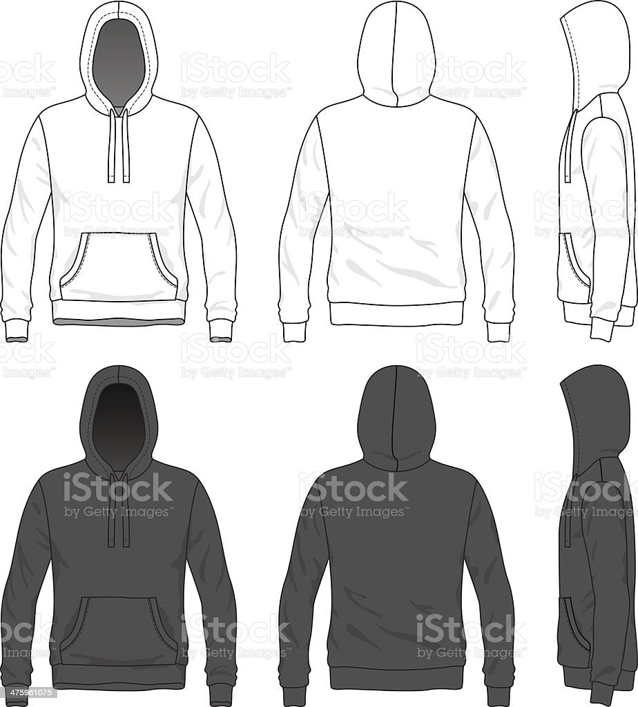 Front, back and side views of blank hoodie vector art illustration