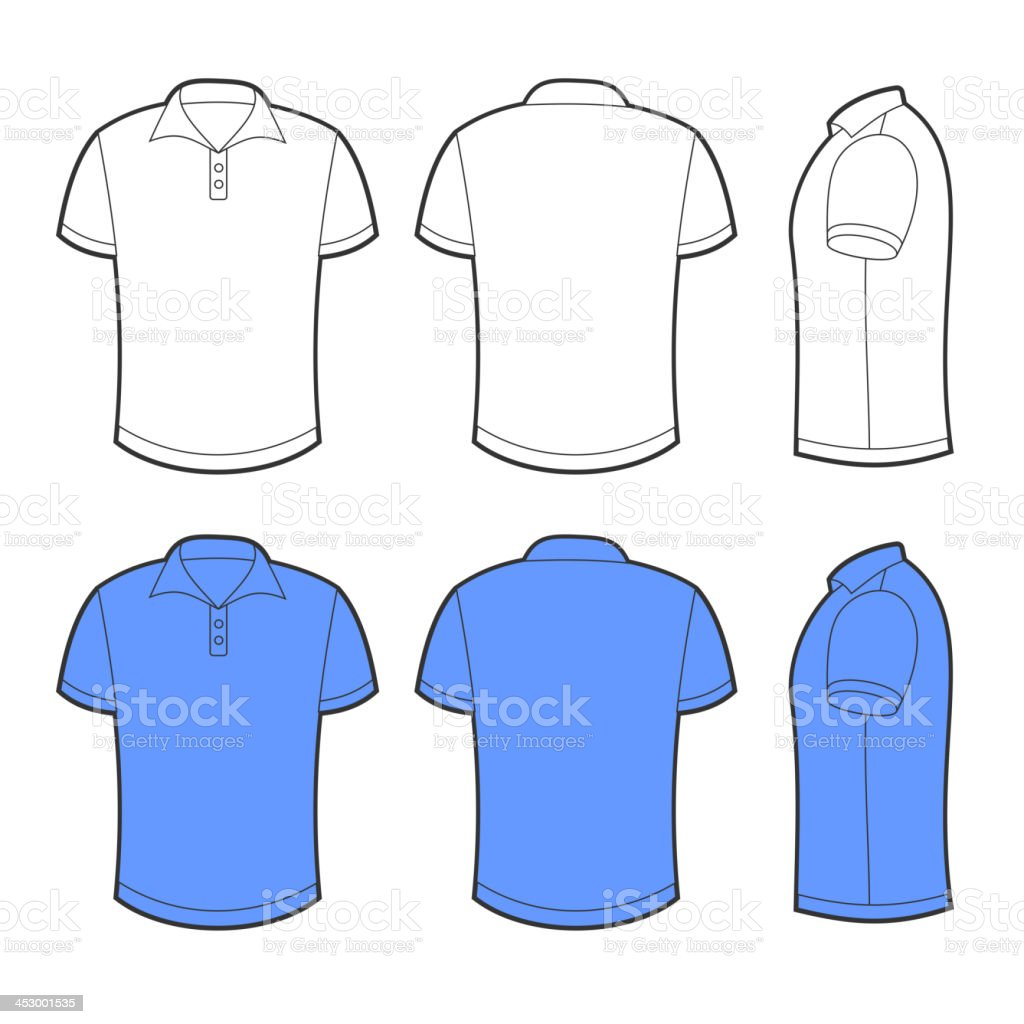 Front, back and side views of blank polo vector art illustration