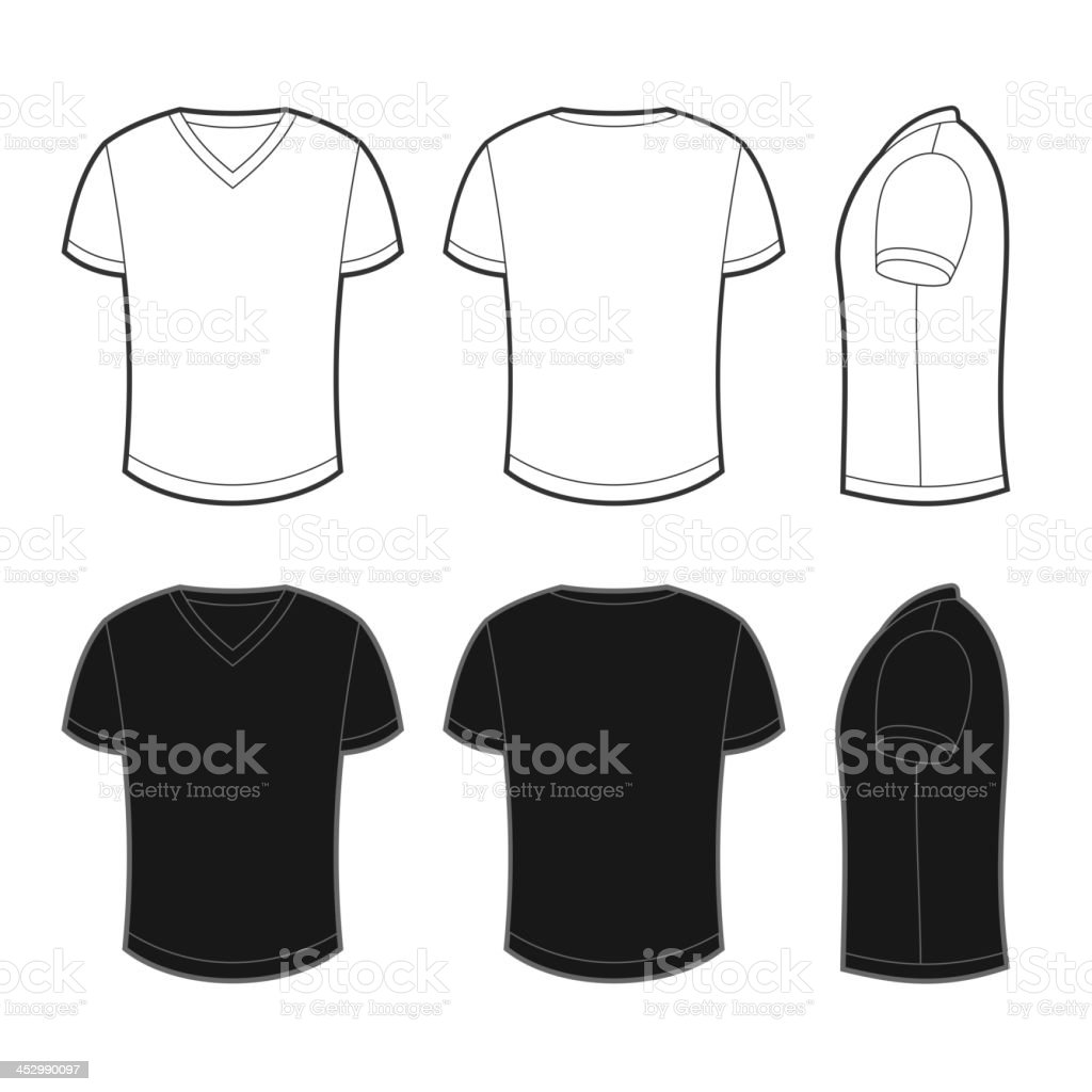 Front, back and side views of blank t-shirt vector art illustration