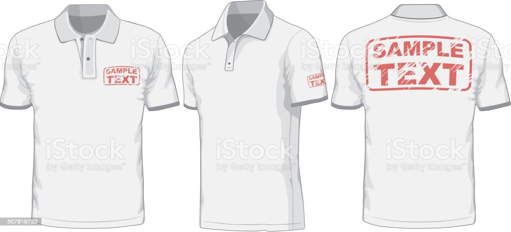 Front, back and side views of polo-shirt. vector art illustration