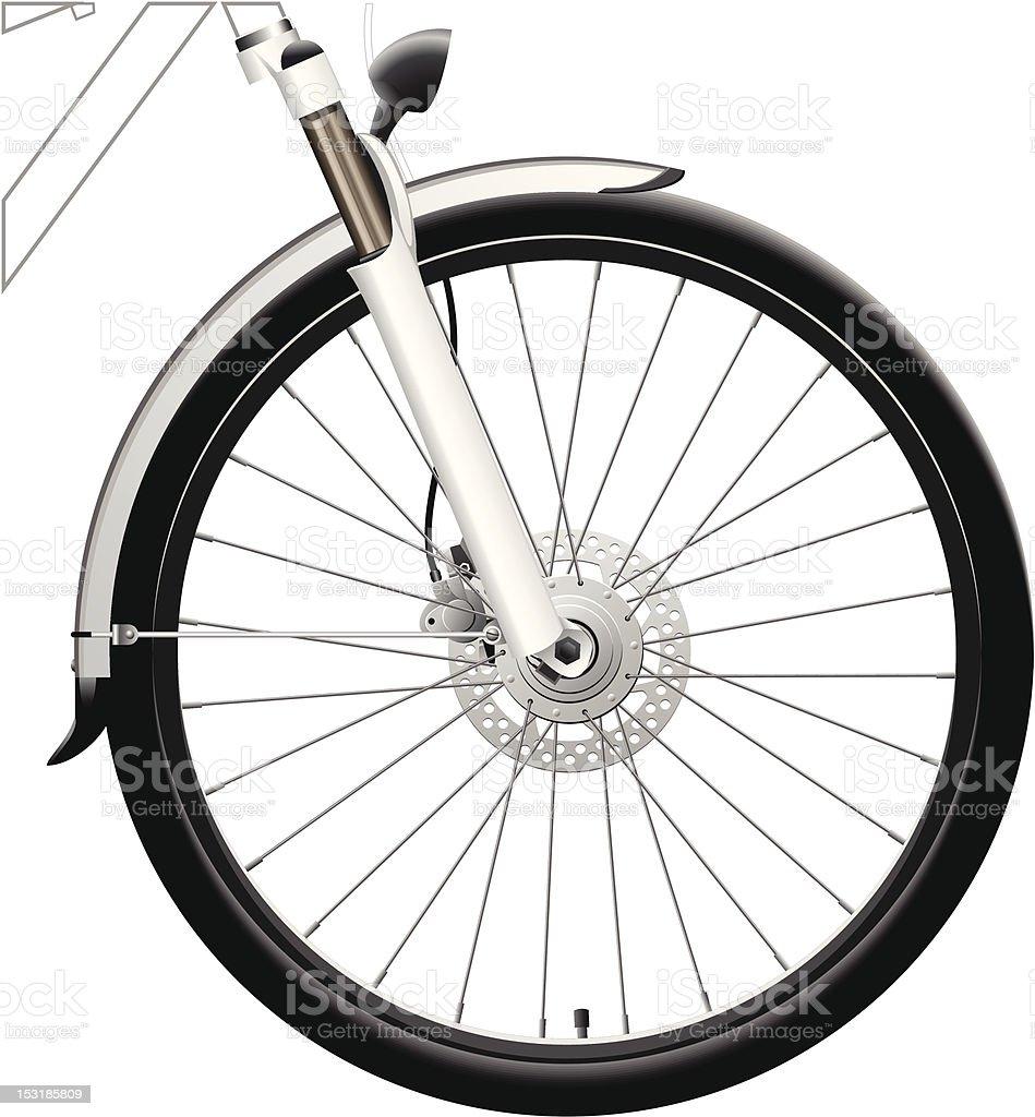 Front Bike Wheel with Dynamo Hub vector art illustration