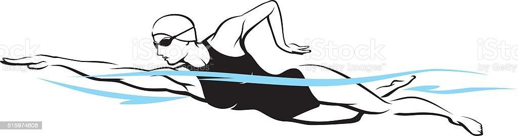 Front Crawl Swim vector art illustration