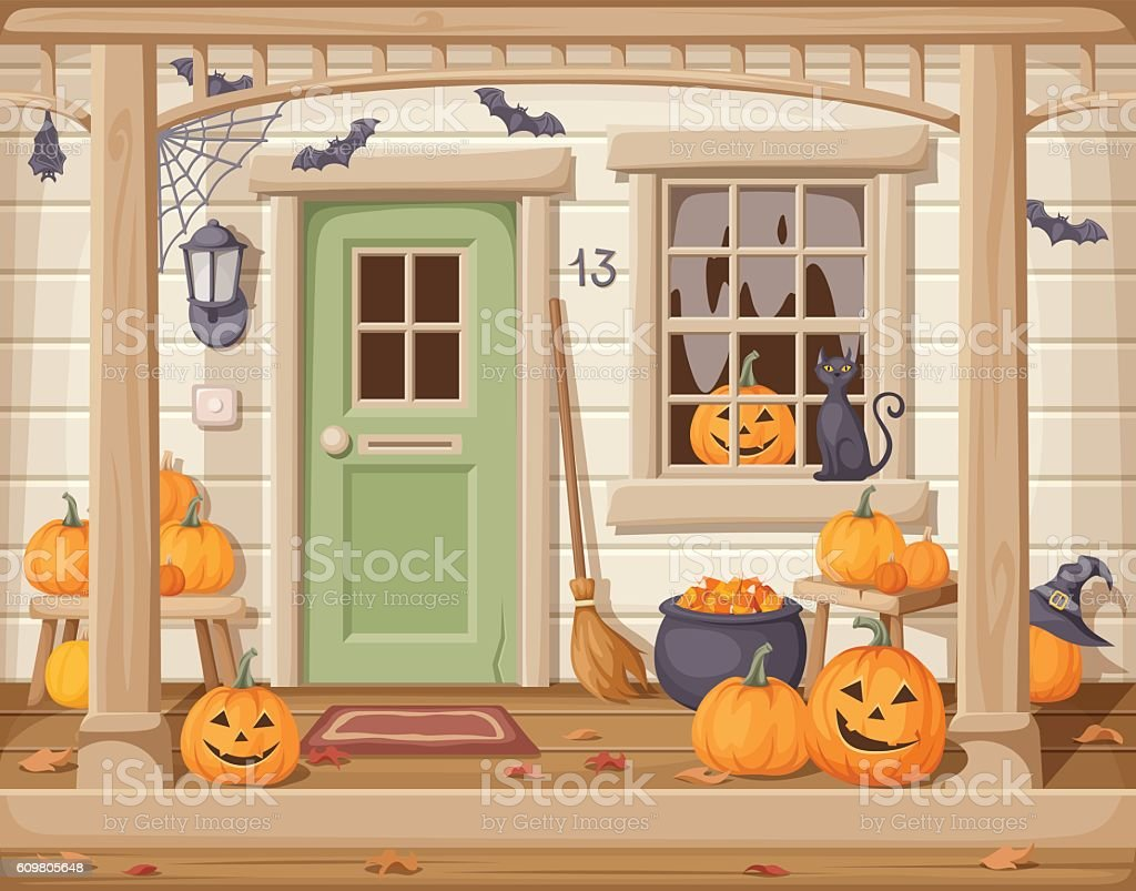 Front door and porch decorated for Halloween. Vector illustration. vector art illustration