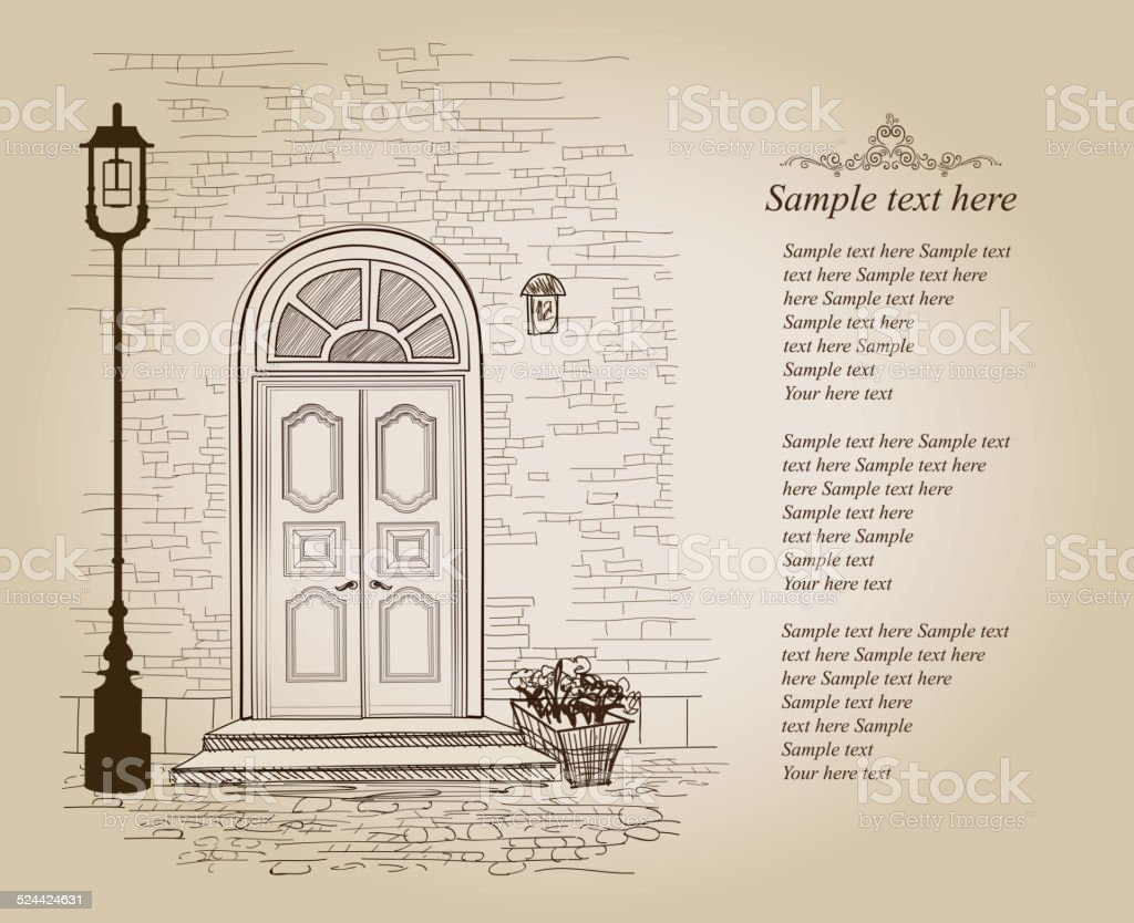 Front door view. Old house retro background with copy space vector art illustration