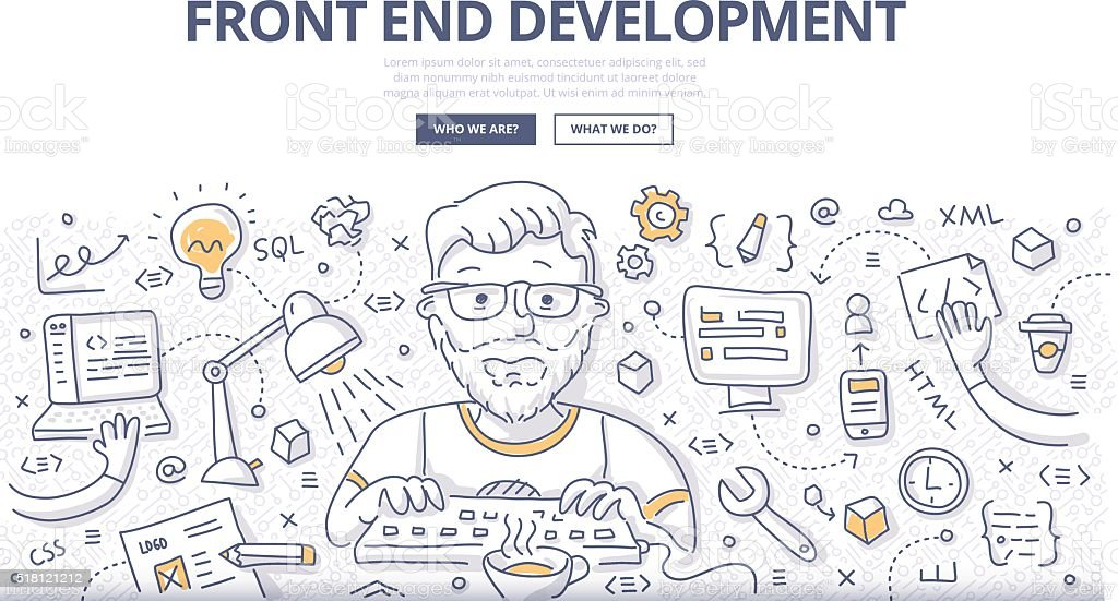 Front End Development Doodle Concept vector art illustration