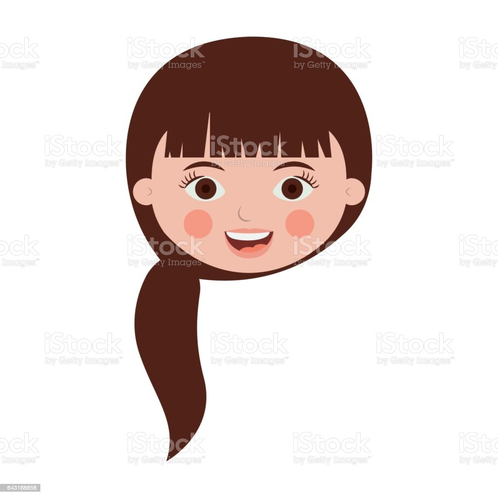 Front Face Teenager With Long Hair Vetor E Ilustracao Royalty Free