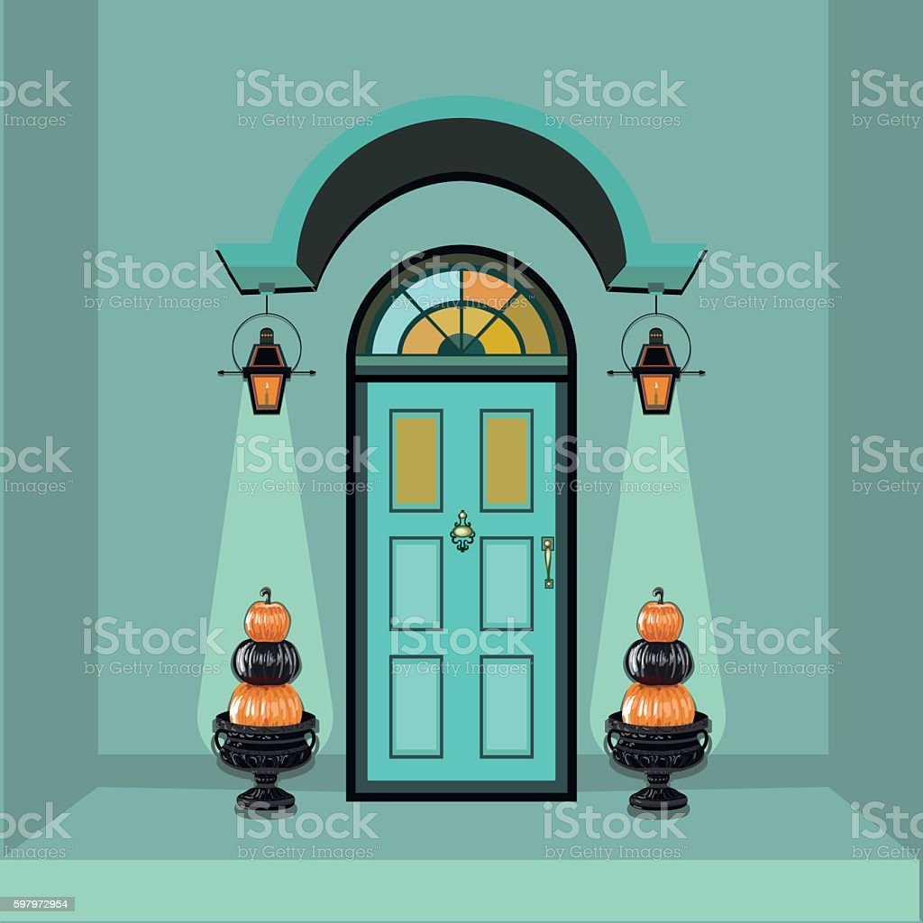 Front house door at autumn time vector art illustration
