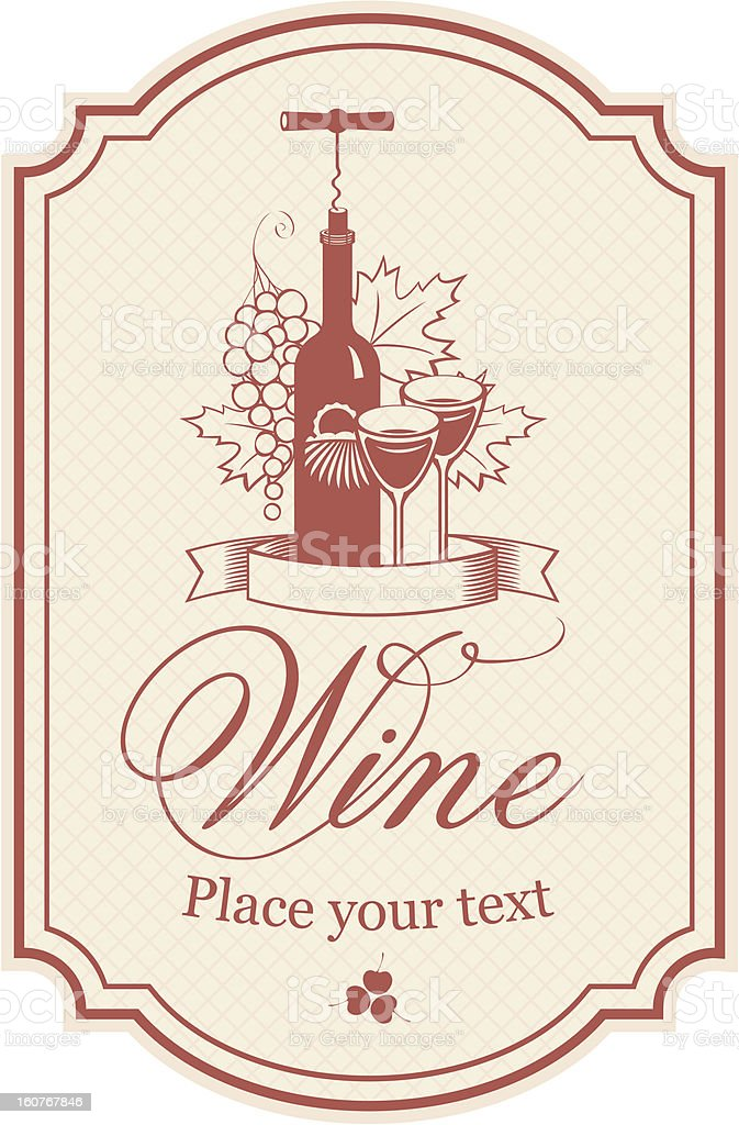 Front of red bottle wine sticker design element royalty-free stock vector art