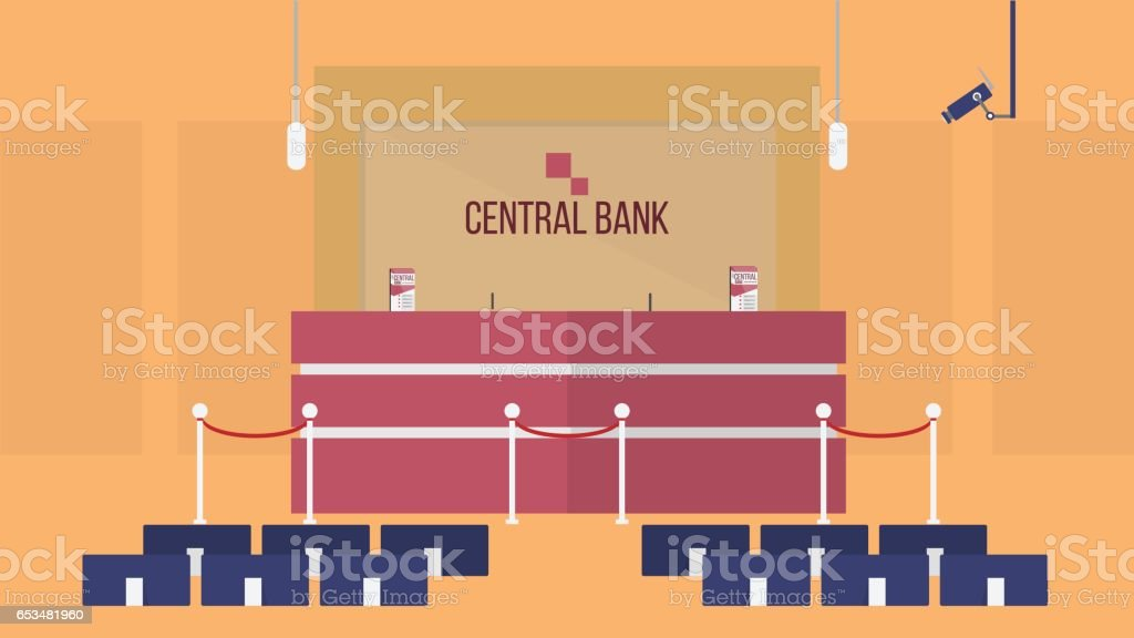 Front Office of Bank Background vector art illustration