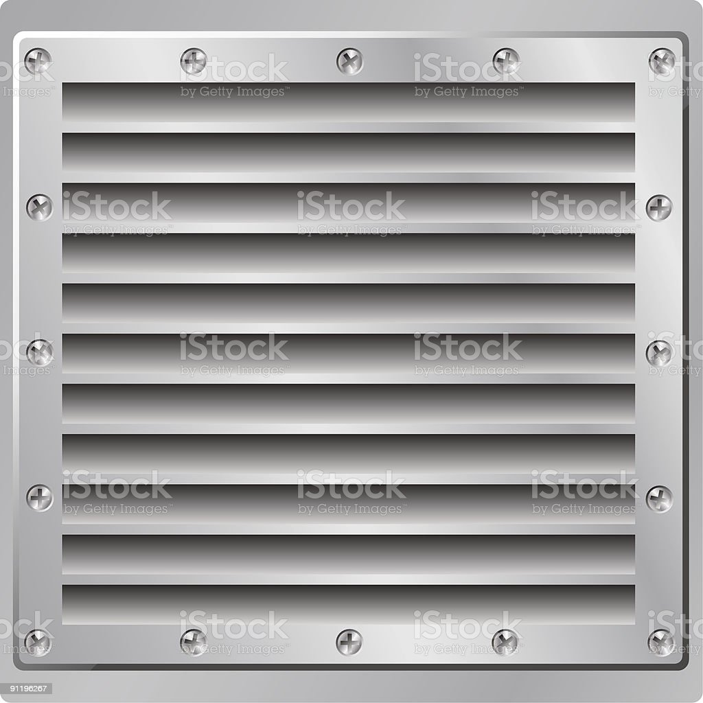 A front on view of a metal air vent vector art illustration