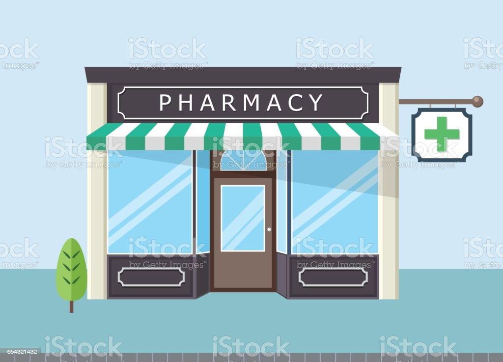 Front pharmacy store vector art illustration