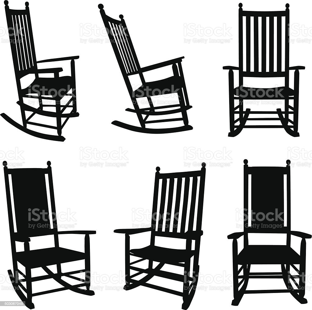 Front Porch Rocking Chairs vector art illustration
