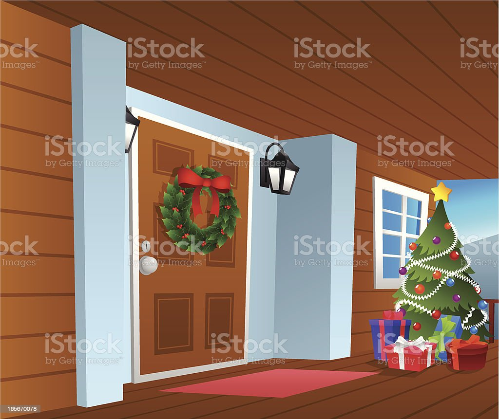 Front porch vector art illustration