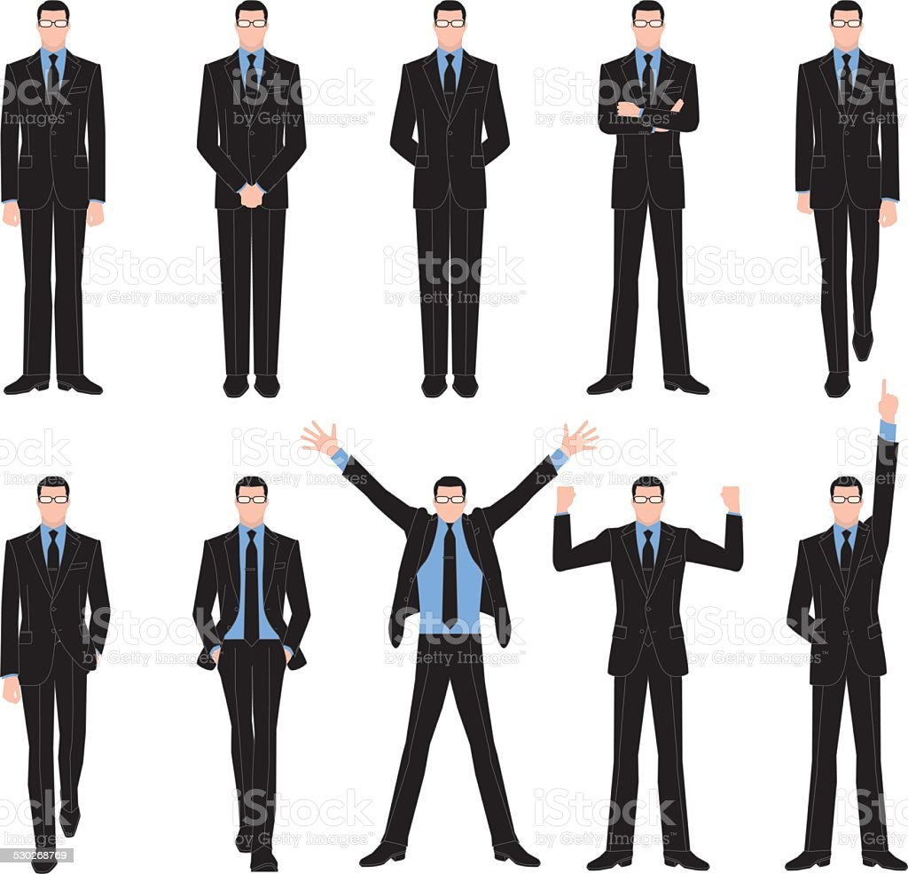 Front pose of businessman vector art illustration