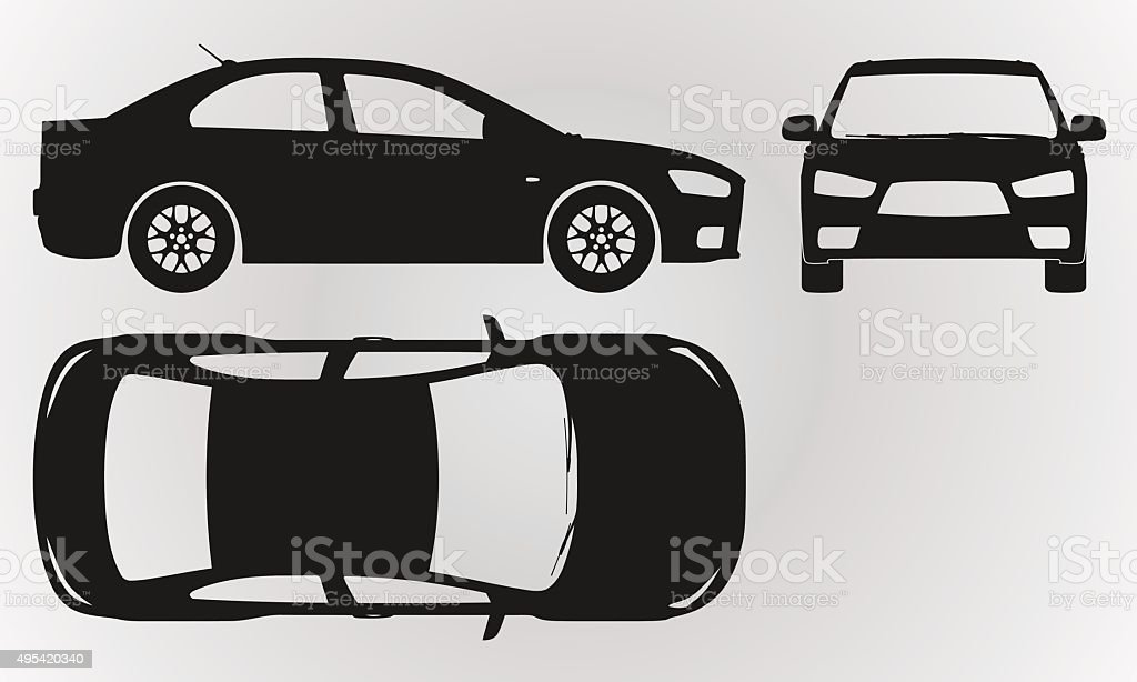 Front, top and side car projection vector art illustration