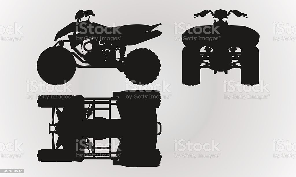 Front, top and side quad bike projection vector art illustration