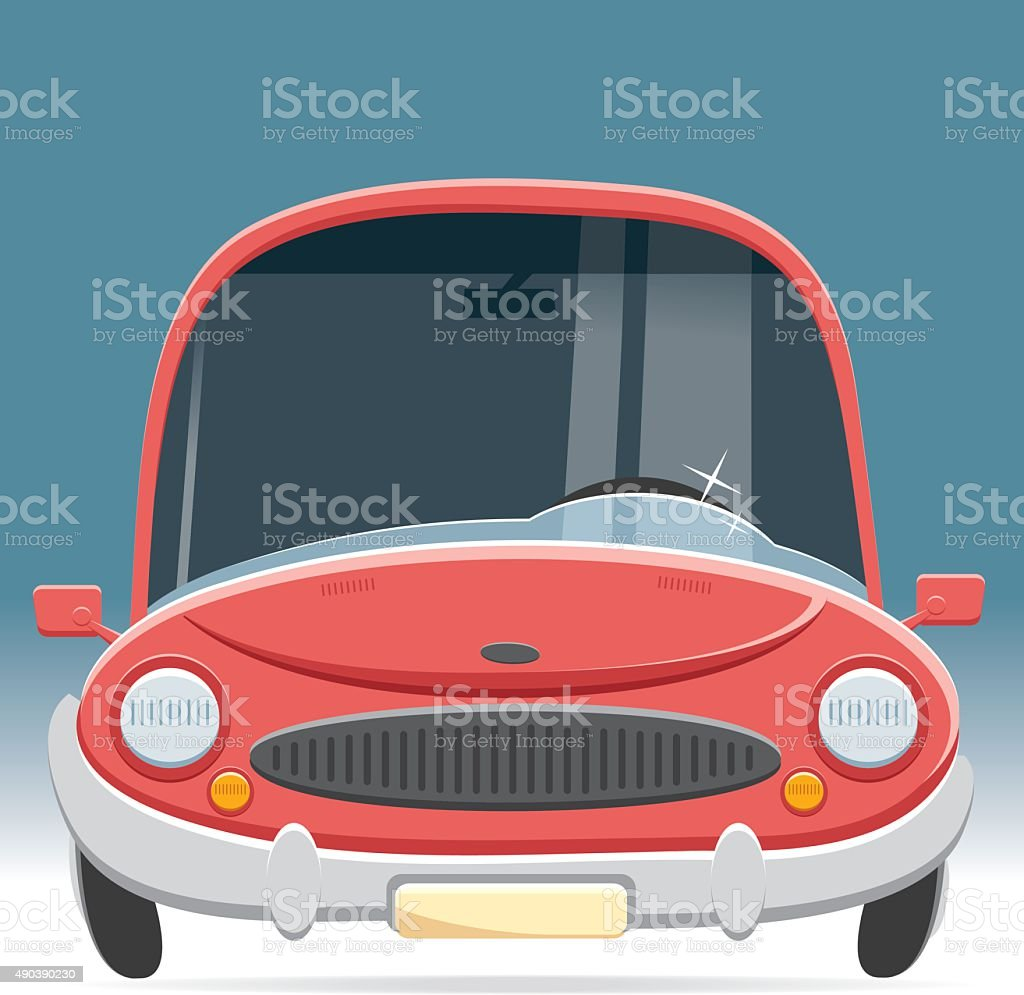 front view car vector art illustration