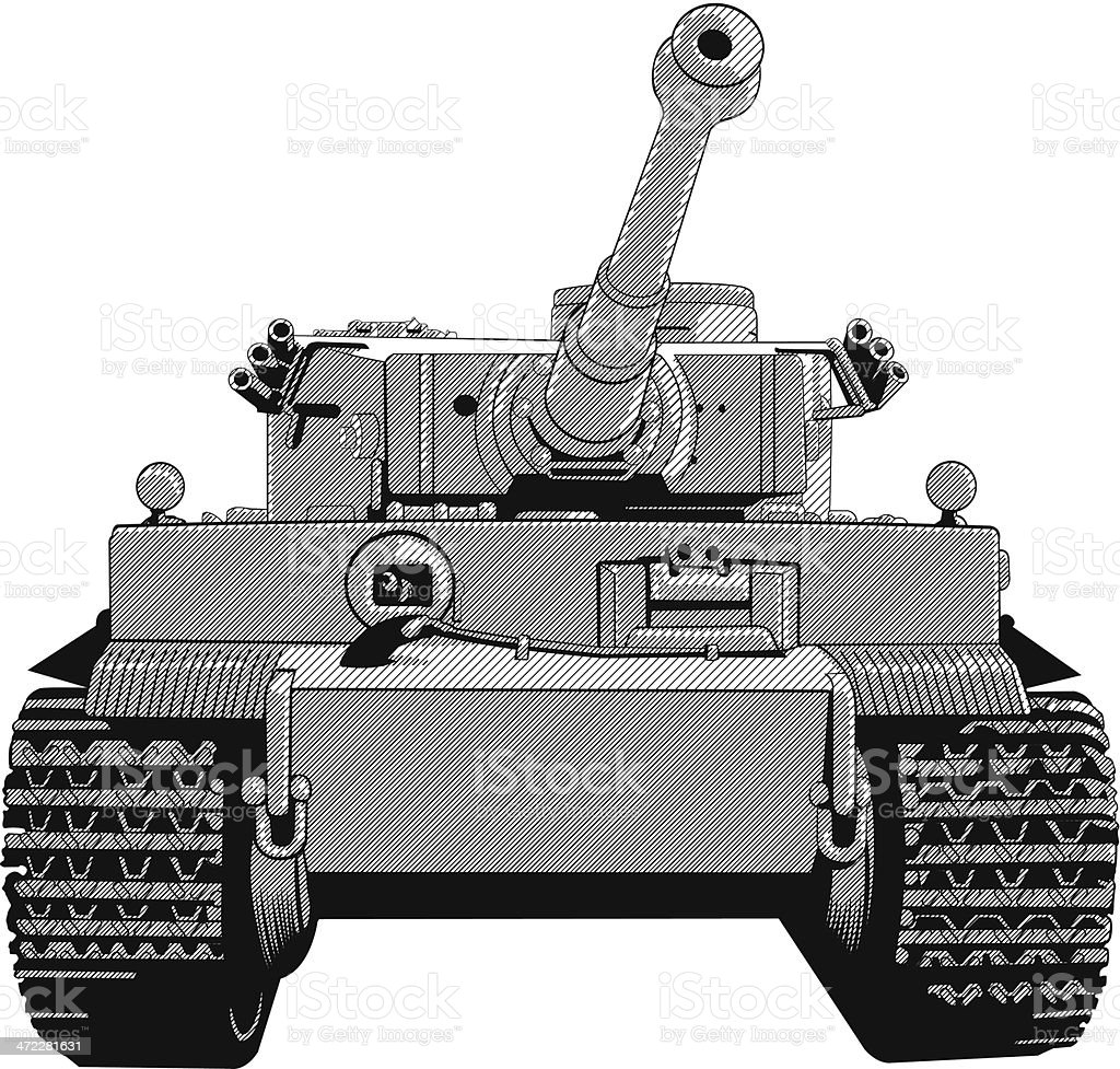 Front view close up of tank vector art illustration